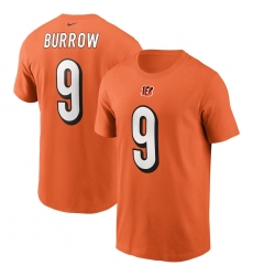 Men's Cincinnati Bengals #9 Joe Burrow Nike Orange Player Name & Number T-Shirt.webp