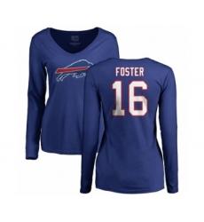 NFL Women's Nike Buffalo Bills #16 Robert Foster Royal Blue Name & Number Logo Long Sleeve T-Shirt