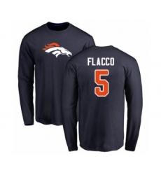 Football Denver Broncos #5 Joe Flacco Navy Blue Name & Number Logo Long Sleeve T-Shirt