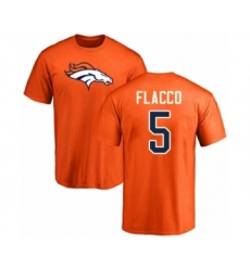 Football Denver Broncos #5 Joe Flacco Orange Name & Number Logo T-Shirt