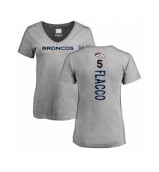 Football Women's Denver Broncos #5 Joe Flacco Ash Backer V-Neck T-Shirt