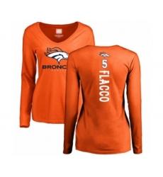 Football Women's Denver Broncos #5 Joe Flacco Orange Backer Long Sleeve T-Shirt