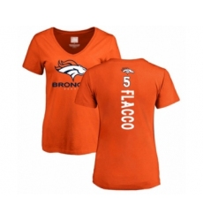 Football Women's Denver Broncos #5 Joe Flacco Orange Backer T-Shirt