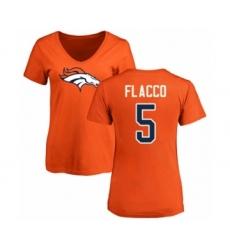 Football Women's Denver Broncos #5 Joe Flacco Orange Name & Number Logo T-Shirt