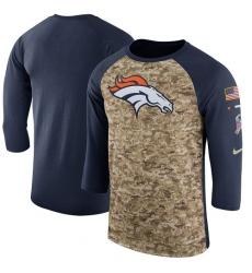 NFL Men's Denver Broncos Nike Camo Navy Salute to Service Sideline Legend Performance Three-Quarter Sleeve T-Shirt