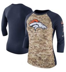 NFL Women's Denver Broncos Nike Camo Navy Salute to Service Legend Three-Quarter Raglan Sleeve T-Shir