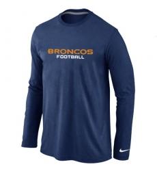 Nike Denver Broncos Authentic Font Long Sleeve NFL T-Shirt - Dark Blue