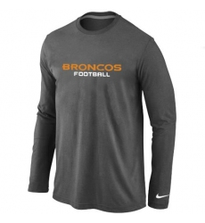Nike Denver Broncos Authentic Font Long Sleeve NFL T-Shirt - Dark Grey