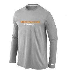 Nike Denver Broncos Authentic Font Long Sleeve NFL T-Shirt - Grey