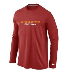 Nike Denver Broncos Authentic Font Long Sleeve NFL T-Shirt - Red