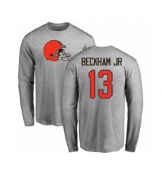 NFL Nike Cleveland Browns #13 Odell Beckham Jr. Ash Name & Number Logo Long Sleeve T-Shirt