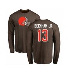 NFL Nike Cleveland Browns #13 Odell Beckham Jr. Brown Name & Number Logo Long Sleeve T-Shirt