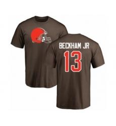 NFL Nike Cleveland Browns #13 Odell Beckham Jr. Brown Name & Number Logo T-Shirt