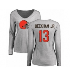 NFL Women's Nike Cleveland Browns #13 Odell Beckham Jr. Ash Name & Number Logo Long Sleeve T-Shirt