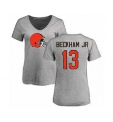 NFL Women's Nike Cleveland Browns #13 Odell Beckham Jr. Ash Name & Number Logo T-Shirt