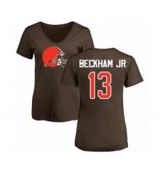 NFL Women's Nike Cleveland Browns #13 Odell Beckham Jr. Brown Name & Number Logo T-Shirt