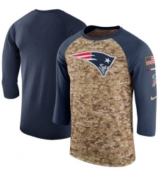 NFL Men's New England Patriots Nike Camo Navy Salute to Service Sideline Legend Performance Three-Quarter Sleeve T-Shirt