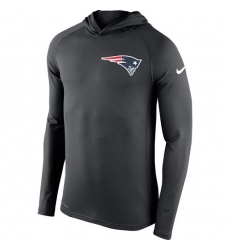 NFL Men's New England Patriots Nike Charcoal Stadium Touch Hooded Performance Long Sleeve T-Shirt