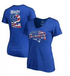 New England Patriots Tom Brady NFL Pro Line by Fanatics Branded Women's Banner Wave Name & Number T-Shirt - Royal