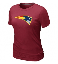 New England Patriots Women's Neon Logo Charcoal NFL T-Shirt - Red