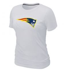 New England Patriots Women's Neon Logo Charcoal NFL T-Shirt - White