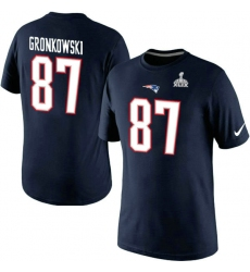 Nike New England Patriots #87 Rob Gronkowski New Name & Number Super Bowl XLIX NFL T-Shirt - Navy Blue