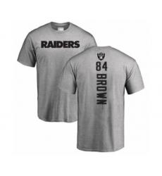 Football Oakland Raiders #84 Antonio Brown Ash Backer T-Shirt