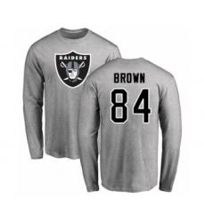 Football Oakland Raiders #84 Antonio Brown Ash Name & Number Logo Long Sleeve T-Shirt