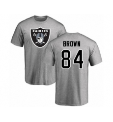 Football Oakland Raiders #84 Antonio Brown Ash Name & Number Logo T-Shirt
