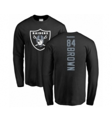 Football Oakland Raiders #84 Antonio Brown Black Backer Long Sleeve T-Shirt