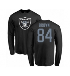 Football Oakland Raiders #84 Antonio Brown Black Name & Number Logo Long Sleeve T-Shirt