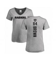 Football Women's Oakland Raiders #84 Antonio Brown Ash Backer T-Shirt