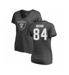 Football Women's Oakland Raiders #84 Antonio Brown Ash One Color T-Shirt