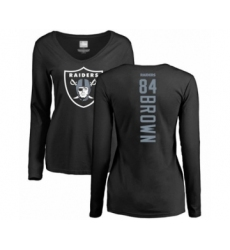 Football Women's Oakland Raiders #84 Antonio Brown Black Backer Long Sleeve T-Shirt