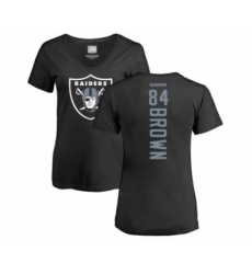 Football Women's Oakland Raiders #84 Antonio Brown Black Backer T-Shirt