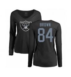 Football Women's Oakland Raiders #84 Antonio Brown Black Name & Number Logo Long Sleeve T-Shirt