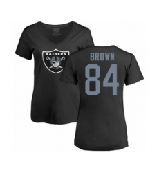Football Women's Oakland Raiders #84 Antonio Brown Black Name & Number Logo T-Shirt