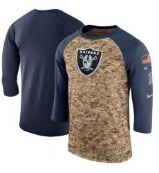 NFL Men's Oakland Raiders Nike Camo Anthracite Salute to Service Sideline Legend Performance Three-Quarter Sleeve T-Shirt