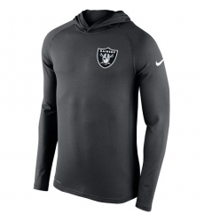 NFL Men's Oakland Raiders Nike Charcoal Stadium Touch Hooded Performance Long Sleeve T-Shirt