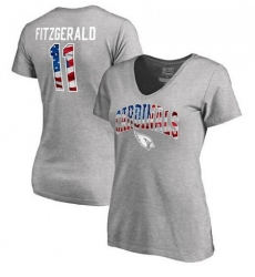 Arizona Cardinals Larry Fitzgerald NFL Pro Line by Fanatics Branded Women's Banner Wave Name & Number T-Shirt - Heathered Gray