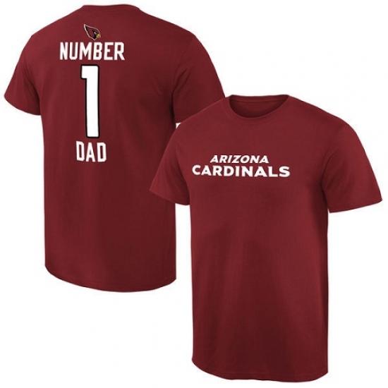 NFL Men Arizona Cardinals Pro Line Cardinal Number 1 Dad T-Shirt