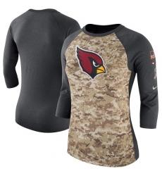 NFL Women's Arizona Cardinals Nike Camo Charcoal Salute to Service Legend Three-Quarter Raglan Sleeve T-Shirt