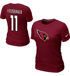 Nike Arizona Cardinals #11 Larry Fitzgerald Name & Number Women's NFL T-Shirt - Red