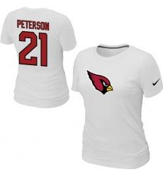 Nike Arizona Cardinals #21 Patrick Peterson Name & Number Women's NFL T-Shirt White