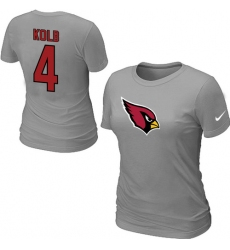 Nike Arizona Cardinals #4 Kevin Kolb Name & Number Women's NFL T-Shirt Grey