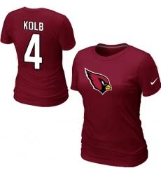 Nike Arizona Cardinals #4 Kevin Kolb Name & Number Women's NFL T-Shirt Red