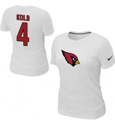 Nike Arizona Cardinals #4 Kevin Kolb Name & Number Women's NFL T-Shirt White