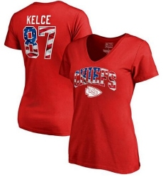 Kansas City Chiefs Travis Kelce NFL Pro Line by Fanatics Branded Women's Banner Wave Name & Number T-Shirt - Red