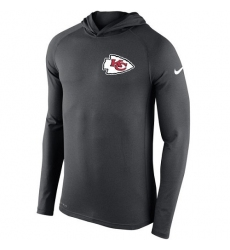 NFL Men's Kansas City Chiefs Nike Charcoal Stadium Touch Hooded Performance Long Sleeve T-Shirt