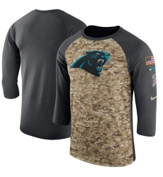 NFL Men's Carolina Panthers Nike Camo Anthracite Salute to Service Sideline Legend Performance Three-Quarter Sleeve T-Shirt